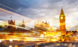 Big Ben and houses of Parliament with the traffic lights at night Royalty Free Stock Photography