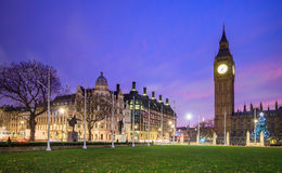 Big Ben and Houses of parliament at twilight. London skyline with Big Ben and Houses of parliament at twilight in UK Stock Photo