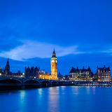 Big Ben and Houses of parliament at twilight. London skyline with Big Ben and Houses of parliament at twilight in UK Stock Images