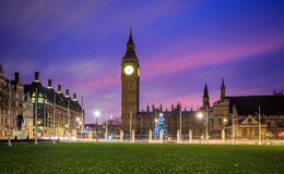 Big Ben and Houses of parliament at twilight. London skyline with Big Ben and Houses of parliament at twilight in UK Royalty Free Stock Image