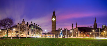 Big Ben and Houses of parliament at twilight. London skyline with Big Ben and Houses of parliament at twilight in UK Royalty Free Stock Photos