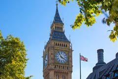 Big Ben and Houses of Parliament. London, UK.  View from the River Thames embankment Royalty Free Stock Image