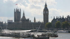 Big Ben and houses of parliament. View from river Thames., London stock video