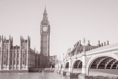 Big Ben and the Houses of Parliament with Westminster Bridge, Lo. Big Ben and the Houses of Parliament, Westminster, London, England, UK in Black and White Sepia Royalty Free Stock Photography