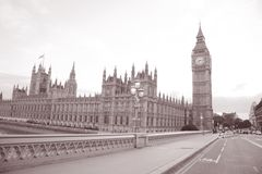 Big Ben and Houses of Parliament; Westminster; London. In Black and White Sepia Tone Stock Photos