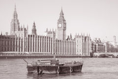 Big Ben and the Houses of Parliament, Westminster, London. England, UK in Black and White Sepia Tone Royalty Free Stock Photo