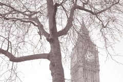 Big Ben and the Houses of Parliament; Westminster; London. England; UK in Black and White Sepia Tone Stock Photo