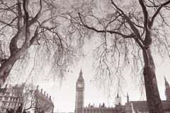 Big Ben and the Houses of Parliament, Westminster, London. Big Ben and the Houses of Parliament; Westminster; London; England; UK in Black and White Sepia Tone Royalty Free Stock Photo