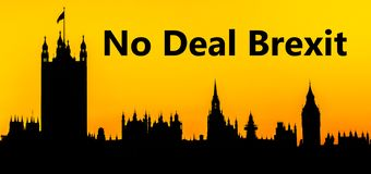 Houses of Parliament at Westminster Palace, London, in preparation for No Deal Brexit royalty free stock images
