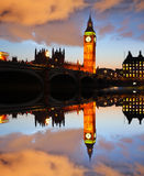 Big Ben i aftonen, London, England Royaltyfri Foto