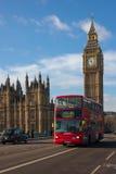 Big Ben i Londyński autobus Obrazy Royalty Free