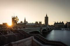 Big Ben i most w czasie zmierzch obrazy stock
