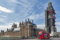 Big Ben, the iconic landmark of London, and the Palace of Westminster being scaffolded during the significant renovation. London, UK - April 2018: The Elizabeth Stock Image
