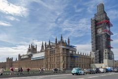 Big Ben, the iconic landmark of London, and the Palace of Westminster being scaffolded during the significant renovation. London, UK - April 2018: The Elizabeth Royalty Free Stock Photography
