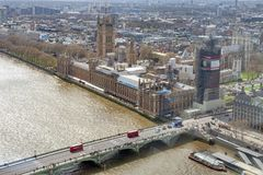 Big Ben, the iconic landmark of London, and the Palace of Westminster being scaffolded during the significant renovation. London, UK - April 2018: The Elizabeth Stock Photo