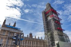 Big Ben, the iconic landmark of London, and the Palace of Westminster being scaffolded during the significant renovation. London, UK - April 2018: The Elizabeth Stock Photos