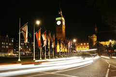 Big Ben and International Flags at Night Royalty Free Stock Photos