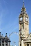Big Ben klockatorn, London, hus av parlamentet, lodlinje, kopieringsutrymme Arkivfoto