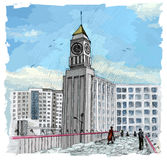 Big Ben in Krasnojarsk Russland Lizenzfreies Stockfoto