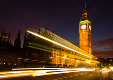 Big Ben and a light trail at dusk Royalty Free Stock Photography