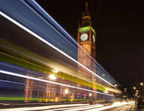 Big Ben with light trail Royalty Free Stock Photography