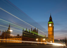 Big Ben with light trails. Big Ben at dusk with a bus light trail Stock Photography