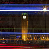 Big Ben and Light Trails in London Stock Photography