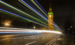 Big Ben and light trails on Westminster bridge, London Royalty Free Stock Images