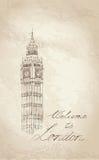 Big Ben, Londen, Engeland, het UK. De ouderwetse achtergrond van reiseuropa. Stock Fotografie