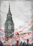 Big Ben, Londen, Engeland, het UK Getrokken hand Royalty-vrije Stock Foto's