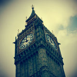Big Ben in Londen, het Verenigd Koninkrijk, met een retro effect stock afbeeldingen
