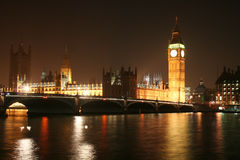 Big Ben London. Night view of House of Parliament and Big Ben in London royalty free stock image