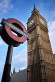 Big Ben, London. The Big Ben, the main landmark of London, with the underground sign stock photo