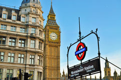 Big Ben in London. London underground sign and Big Ben Stock Image