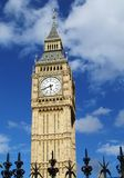 Big Ben, London. The infamous Big Ben of London Westminster against a bright blue sky with railings in front Stock Photography