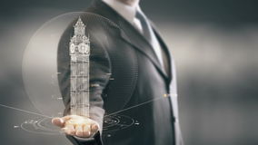 Big Ben London Businessman Holding in Hand Landmark New technologies. Businessman in the future with futuristic technology with landmark stock footage