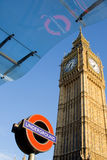 Big Ben in London. Clock at the north end of the Palace of Westminster in London with underground signal Stock Photo