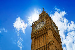 Big Ben London Clock tower in UK Thames. Big Ben London Clock tower close up in UK Thames river Royalty Free Stock Photography