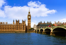 Big Ben London Clock tower in UK Thames. River Royalty Free Stock Image