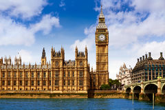 Big Ben London Clock tower in UK Thames. River stock image