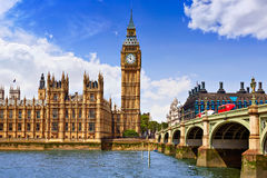 Big Ben London Clock tower in UK Thames. River Stock Photos