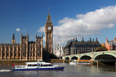 Big Ben in London, England. Big Ben with motor boat in London, England Royalty Free Stock Photo