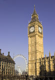 Big Ben, London, England. Big Ben and the London Eye, Westminster, England U.K stock images