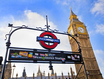 Big Ben. LONDON, ENGLAND Dec 21: London Underground subway sign in front of the famous Big Ben clock at Westminster on December 21, 2012 in London, United Royalty Free Stock Photos