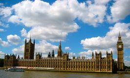 Big Ben, London, England. Fluffy clouds and Stock Images