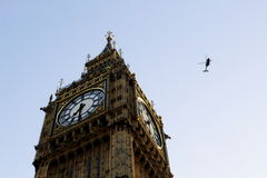 Big Ben, London, England with helicopter Royalty Free Stock Images