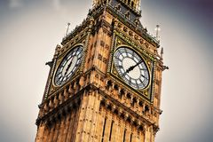 Big Ben, London, England, the UK. Big Ben, the bell of the clock close up. The famous icon of London, England, the UK Royalty Free Stock Photos