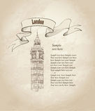 Big Ben, London, England, UK. Hand Drawn vintage wallpaper. Stock Photography