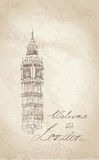 Big Ben London, England, UK. LoppEuropa gammalmodig bakgrund. Arkivbild