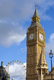 Big Ben and the London Eye Royalty Free Stock Images